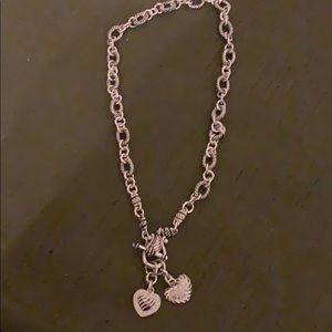 Necklace with rhinestone hearts